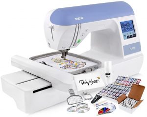 Brother PE770 Embroidery Machine + Grand Slam Package Includes 64 Embroidery Threads + Prewound Bobbins + Cap Hoop